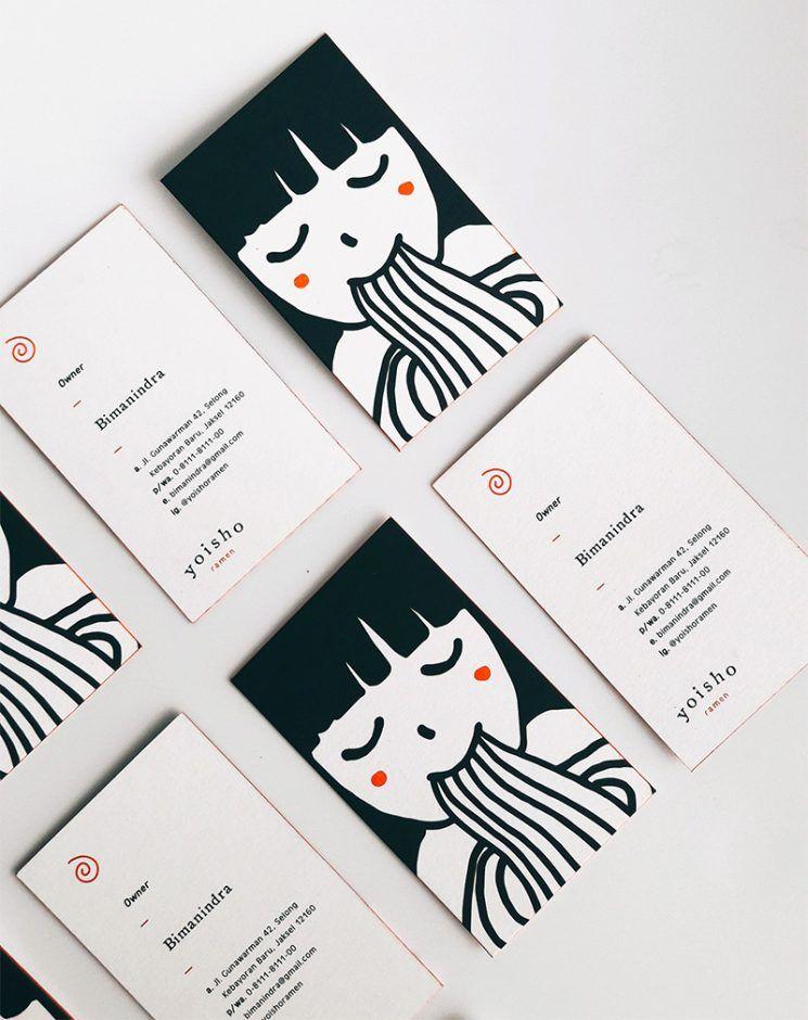 Yoisho Ramen Business Card Business Card Design Inspiration Art Business Cards Watercolor Business Cards Calling Card Design