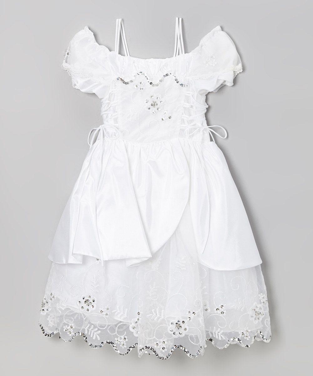 2fa8fd059cbd White Sparkle Lace-Up Off-Shoulder Dress - Girls