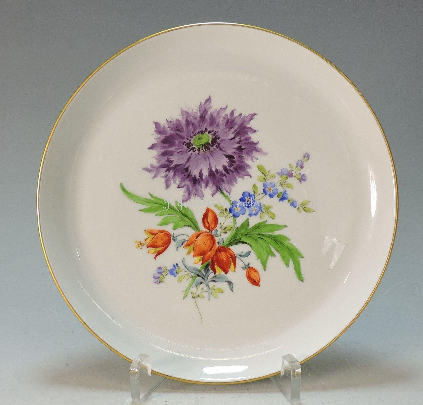 Meissen Keramik: MEISSEN Wunderschöner Wandteller Große Blumenmalerei -1