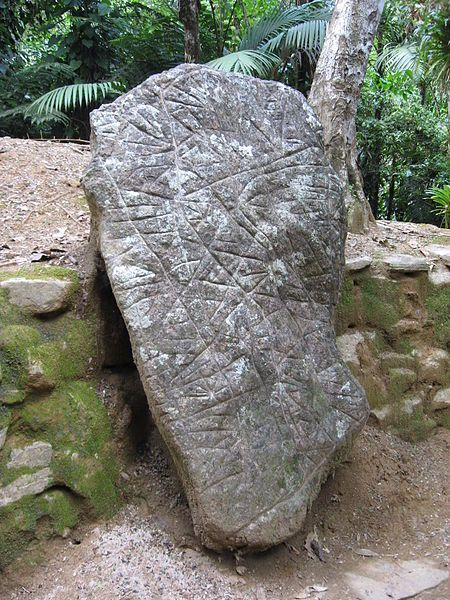 A boulder with carved markings, believed to be a map of the area around Ciudad Perdida. Photo Credit