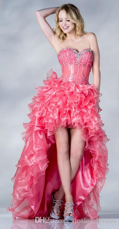 Arabic Pink High Low Prom Dresses Organza Sweetheart Corset Evening ...