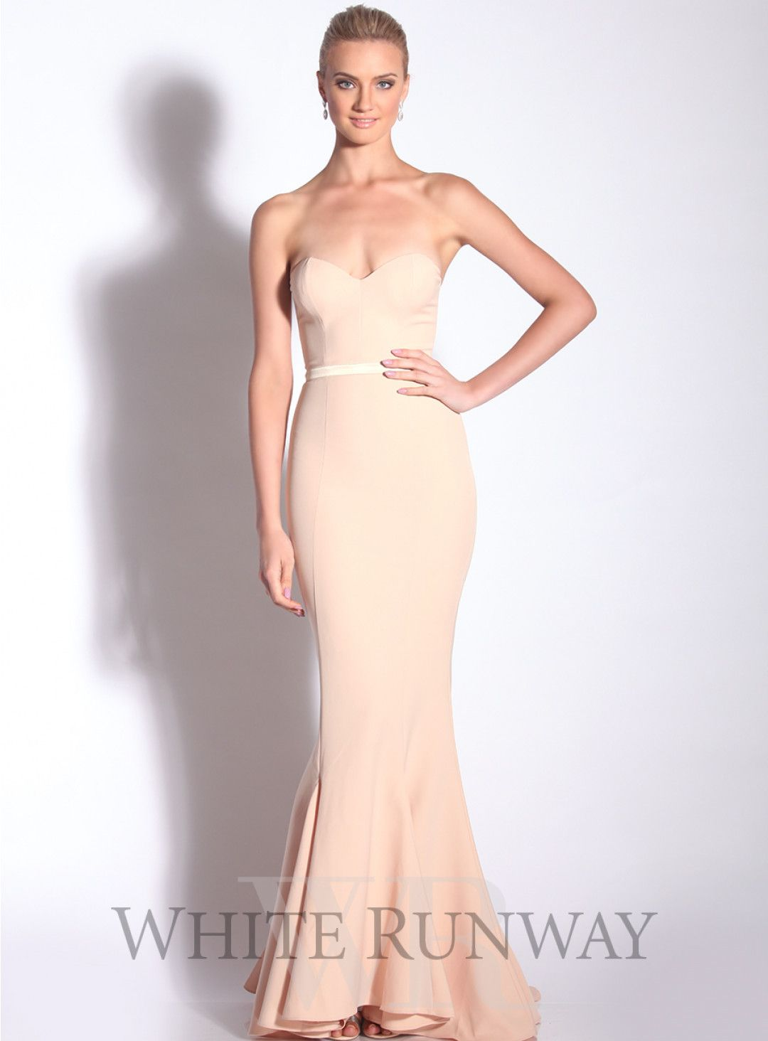 0e2c7fbeded An elegant floor length gown by Elle Zeitoune. A flattering strapless style  featuring a sweetheart neckline with satin waistband and floor sweeping  train