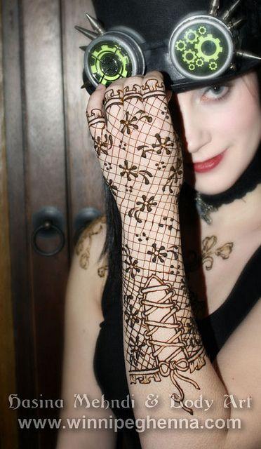 Steampunk lace glove henna winnipeg henna lace gloves for Lace glove tattoo