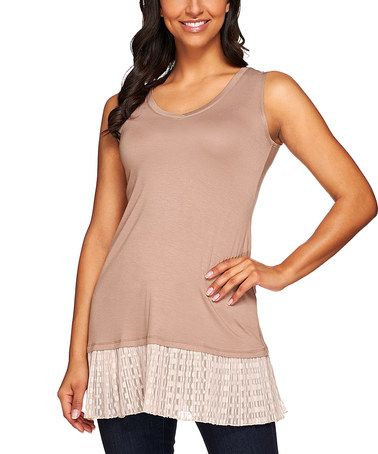 Another great find on #zulily! Cocoa Mesh-Trim Layered Tank - Plus Too #zulilyfinds