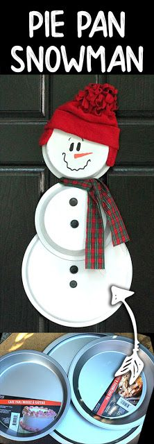 Pie Plate and Pizza Pan Snowman