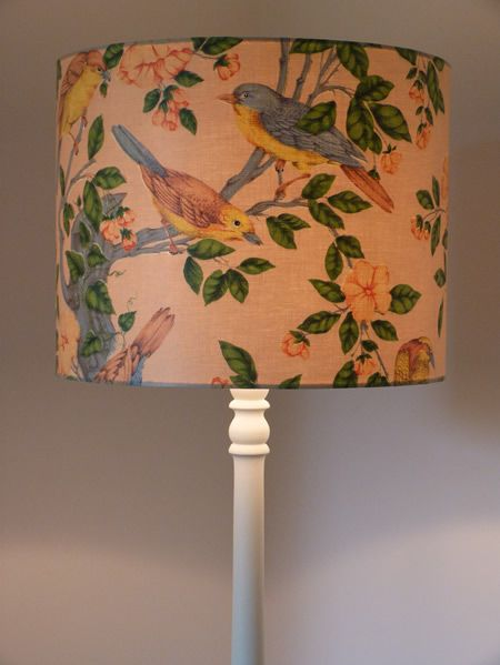 Lampshade glazed cotton fabric vintage birds lighting 2 lampshade vintage birds and blossoms glazed cotton fabric mozeypictures Gallery