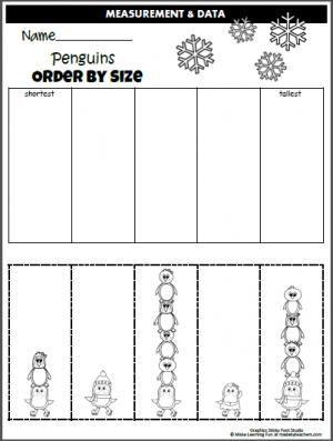 penguin order by size worksheet cut and paste winter school activities measurement. Black Bedroom Furniture Sets. Home Design Ideas