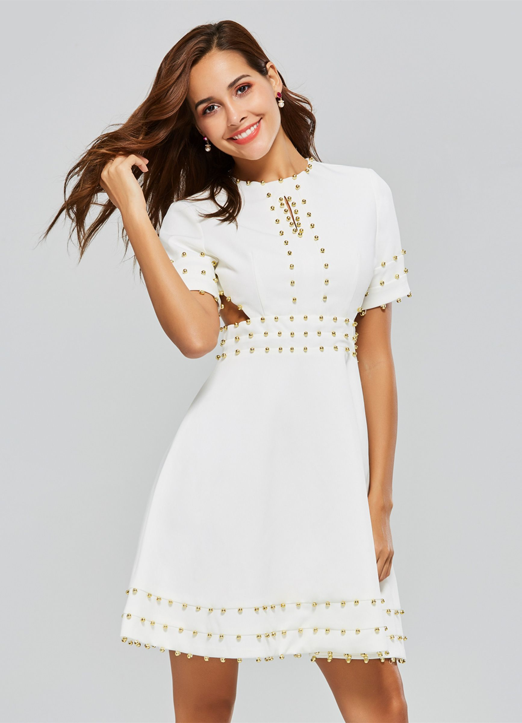 d9d71a846e White Short Sleeve Rivets Women's Day Dress | TBdress Dresses ...