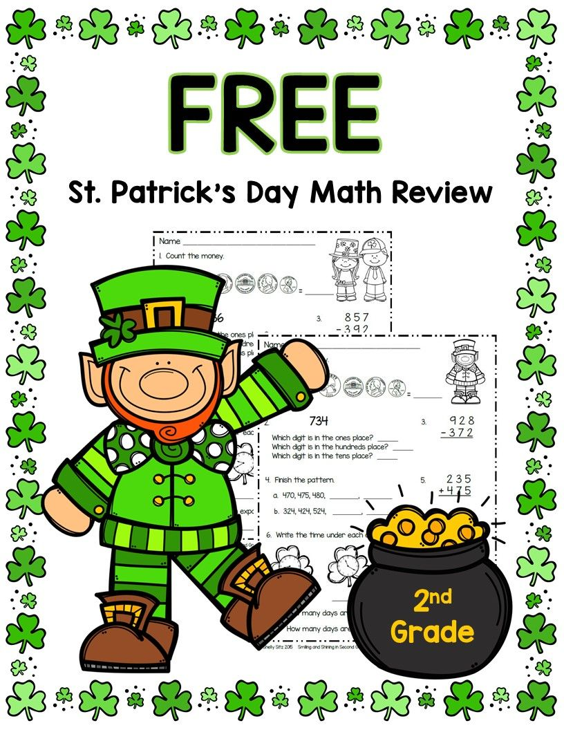 St. Patrick's Day Math and More   Second grade math [ 1056 x 816 Pixel ]
