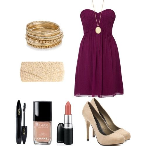 Purple Dress With Gold Accessories