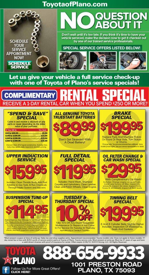 Service Coupons From Toyota Of Plano Schedule Service Toyota Plano