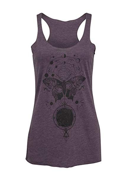 6740cd13865 Amazon.com  Womens Spiritual Butterfly Moon Phases Lotus Yoga Loose Fit  Tank Top