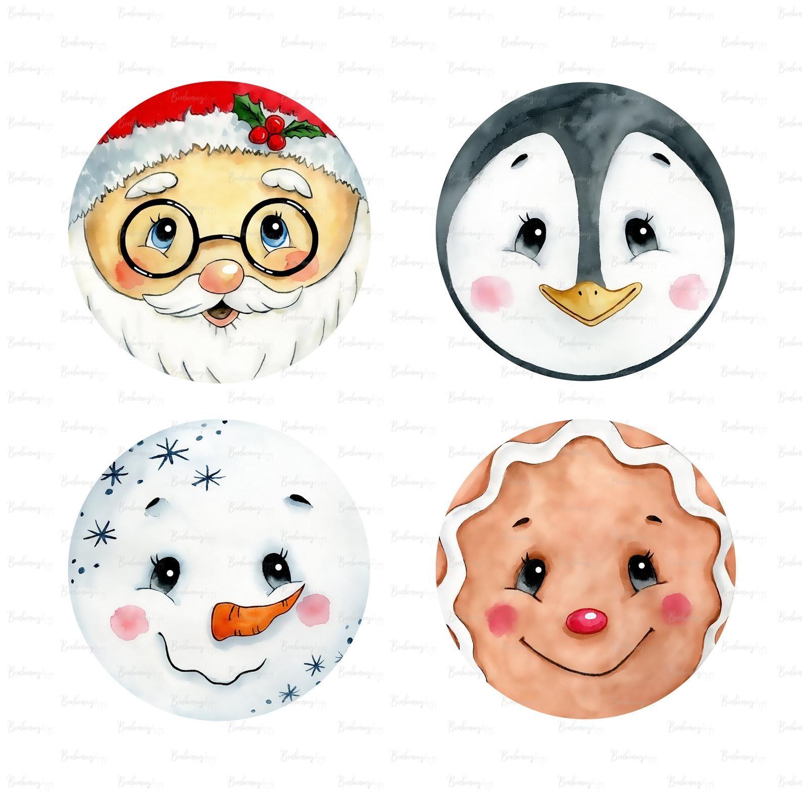 Winter Christmas Santa Snowman Penguin Faces Png Digital Etsy Christmas Clipart Planner Stickers Print Planner