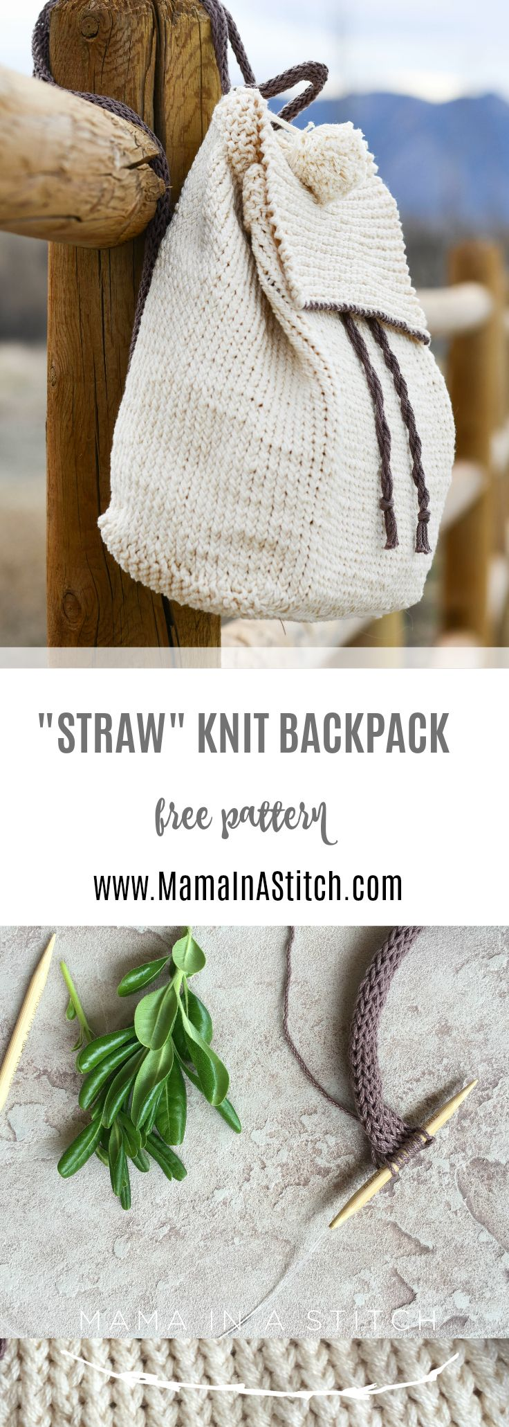 Straw-Like Easy Backpack Free Knitting Pattern #knitting