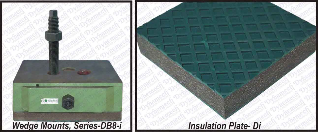 To improve the vibration and noise isolation effect, wedge mounts are usually combined with Di insulation plate having Coefficient of friction 0.8 and natural frequency range of 25 Hz -7 Hz depending on the load of the machine. http://www.vibrationmountsindia.com/Dynemech_vibration_insualtion_plates.html