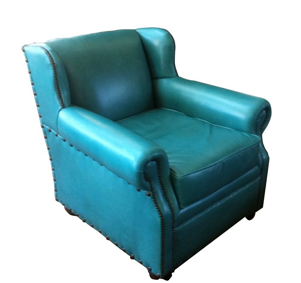 High Quality Turquoise Leather Chair   Western Chair New In Home U0026 Garden, Furniture,  Chairs