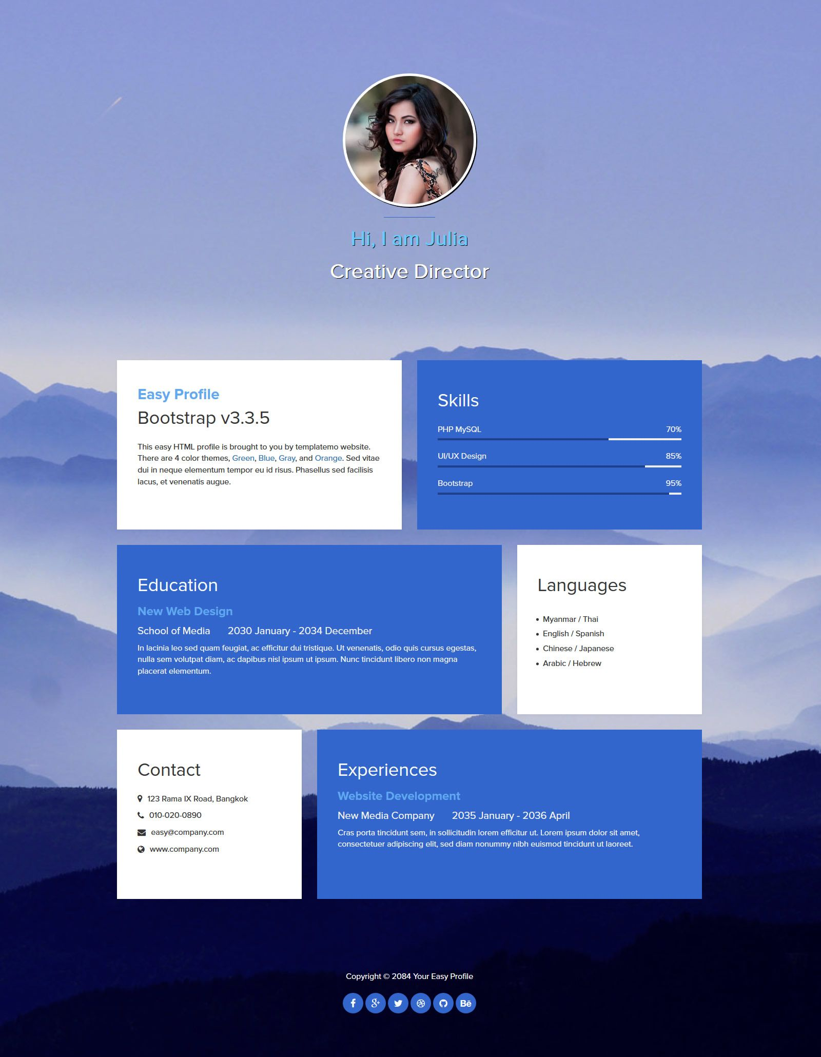 Easy Profile Is One Page Bootstrap V3 3 5 Layout Fade In Out Background Images Blue Green Orange And Gray News Web Design Free Website Templates Templates