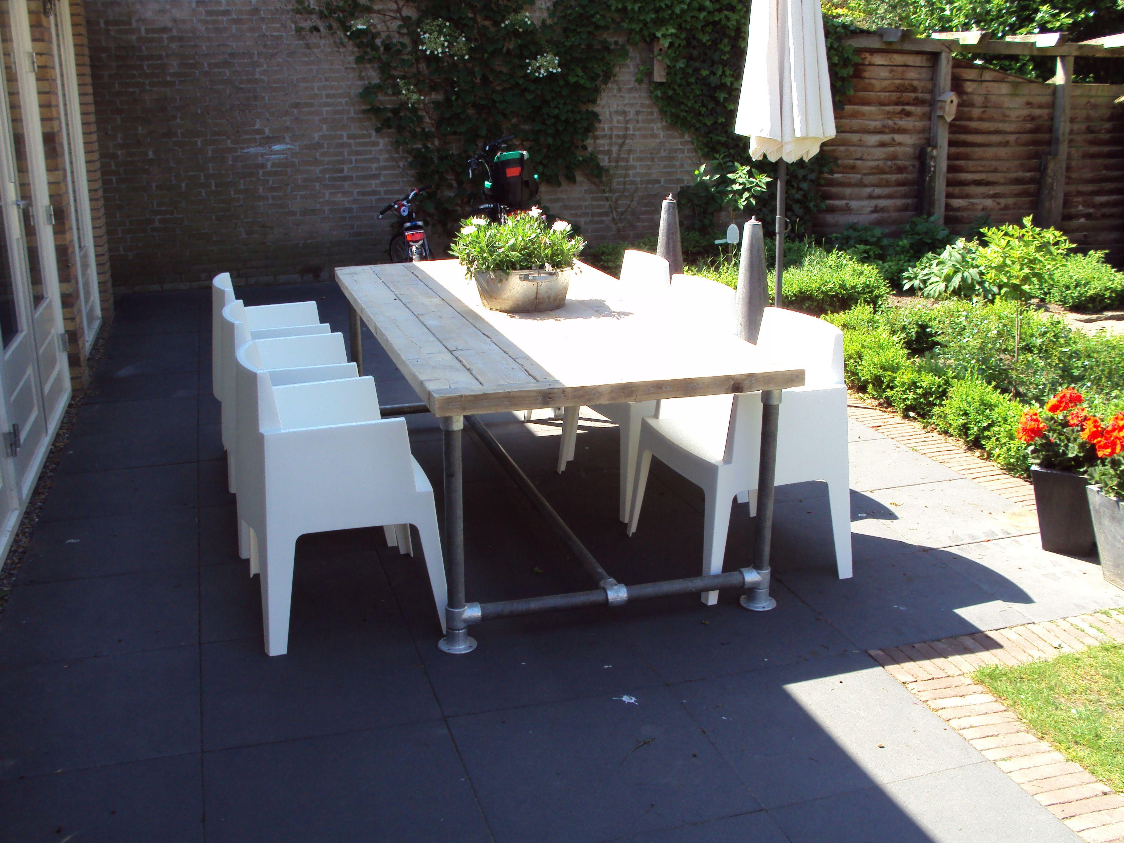 Steigerhout Steigerbuis Tafel : Steigerbuis tafel met steigerhout outdoor pinterest tuin and