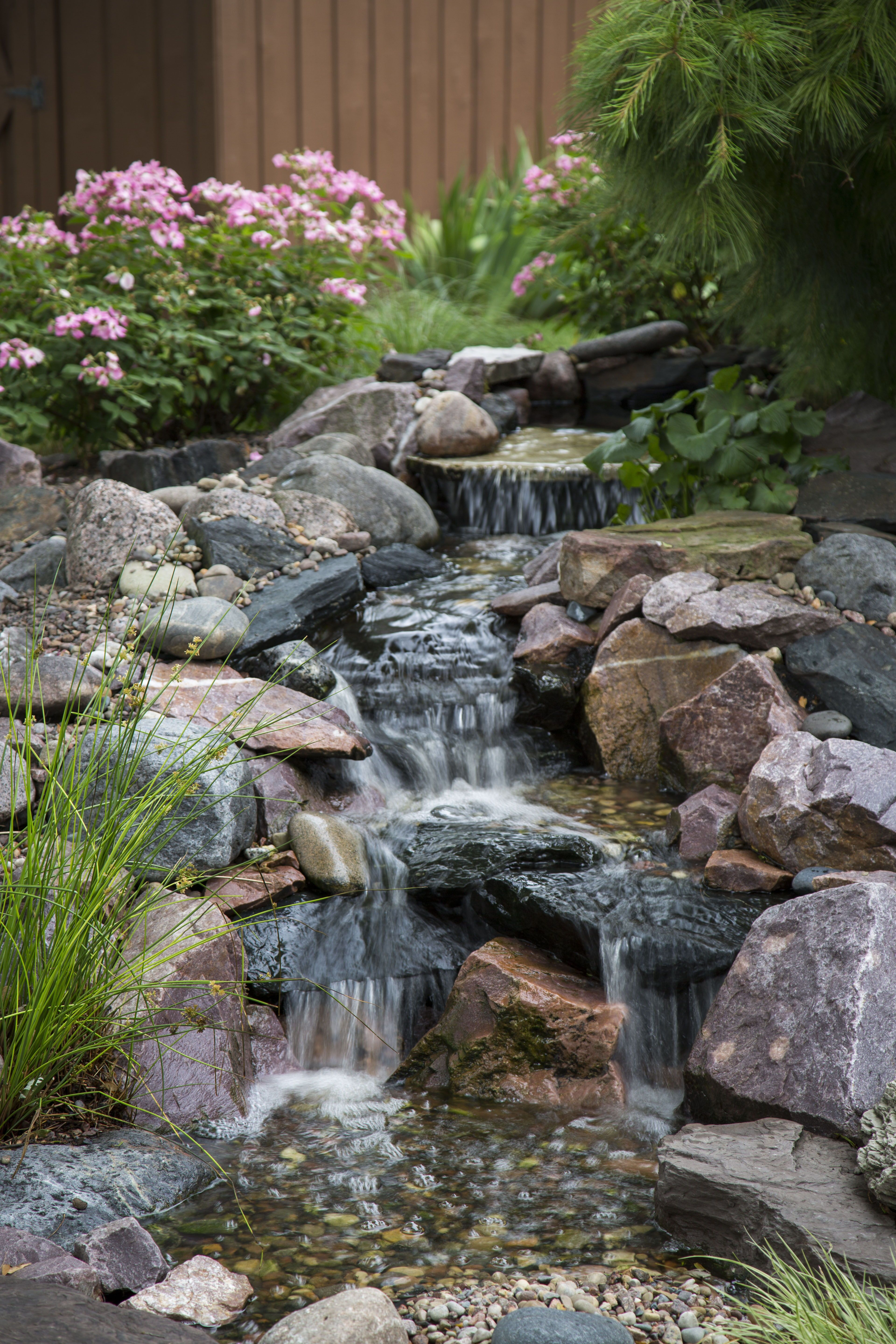 Beautiful pondless waterfall complete with rain water