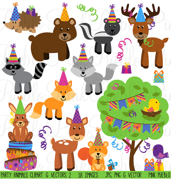 Birthday Party Animals Clipart Clip Art Forest Woodland Animals Clipart Clip Art Vectors For Invitations Commercial And Personal Use Animal Clipart Birthday Clipart Woodland Animal Birthday