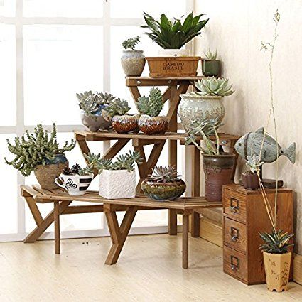 New Year Gift H A 3 Tier Wood Corner Standing Flower Pot Display Rack Plant Theater Standing Shelf Flower Pot Dark Brown Corner Plant Plants Garden Shelves