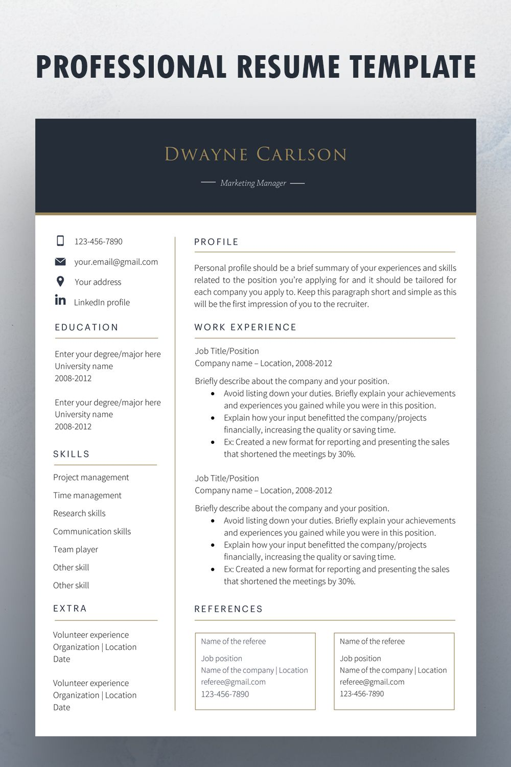 Professional one page and two page resume template cv