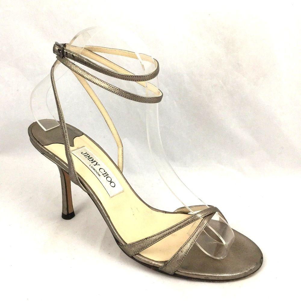 Jimmy Choo Leder Juliet Brass Gold Leder Choo Sandale Ankle Strap Strappy Open ... 1f19be