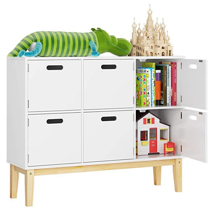 Amazon Com Homecho 6 Cubby Door Wood Kids Floor Toy Book Storage