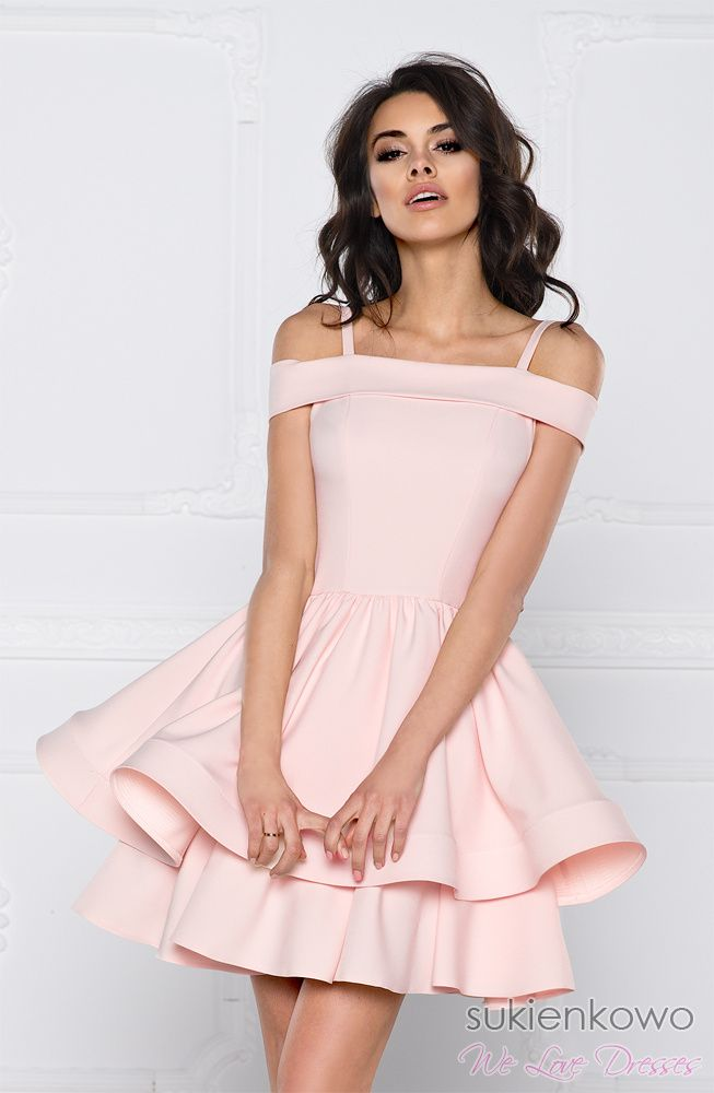 Sukienkowo Com Model Blanche Rozowa Sukienka Rozkloszowana Love Pink Dress Dresses Nice Dresses Jersey Dress