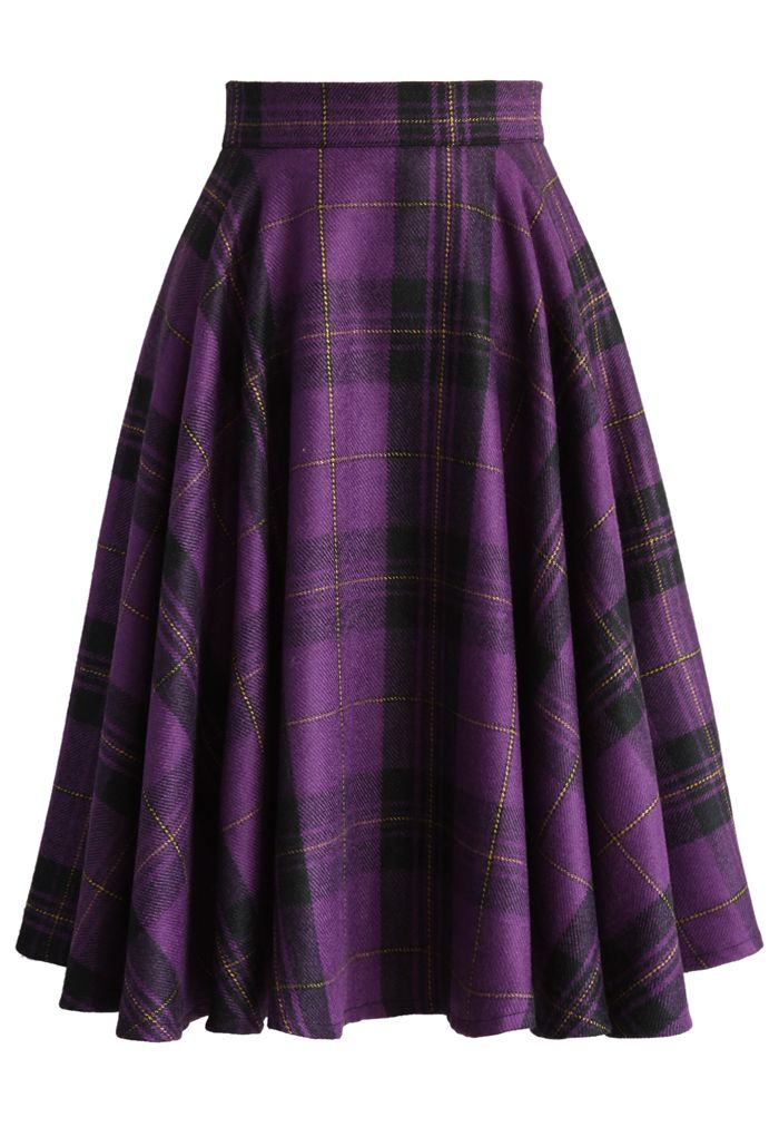 Classic Plaids A-line Skirt in Purple - New Arrivals - Retro, Indie and Unique Fashion