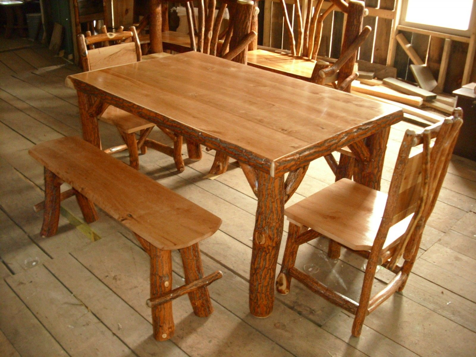 Rustic Log Sassafras Table, Chairs, And Benches Set, Cherry Wood Table Top
