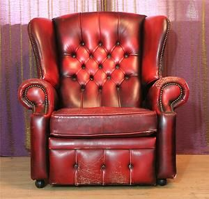 Red Leather Oxblood Chesterfield Wing Back Recliner Queen Anne Chair Ebay