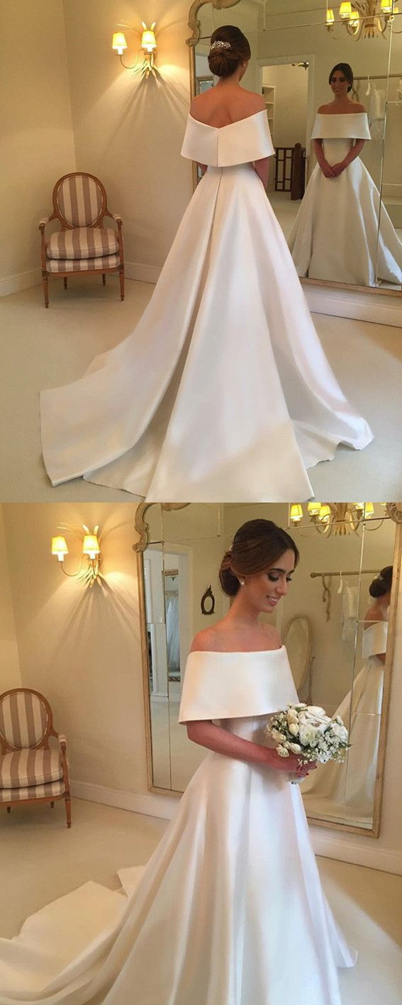 Aline off the shoulder long satin wedding dresses Одежда