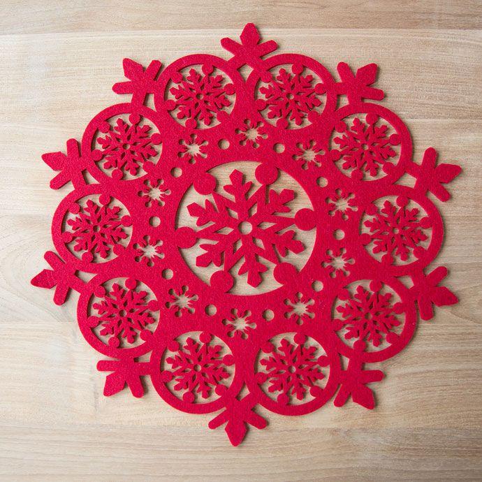 Rund dækkeserviet i udstanset rødt filt - Dækkeservietter og bordløbere - Bordservice - Julens   Zara Home Danmark