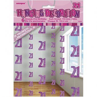 Pink Glitz 21st Birthday Six String Party Decorations 21st