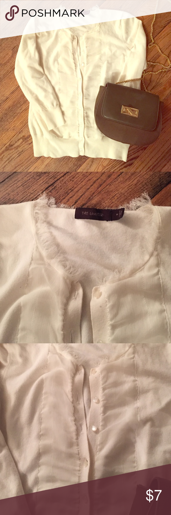 THE LIMITED cream cardigan Fringe detail around neck, detail stripe down buttons The Limited Sweaters Cardigans