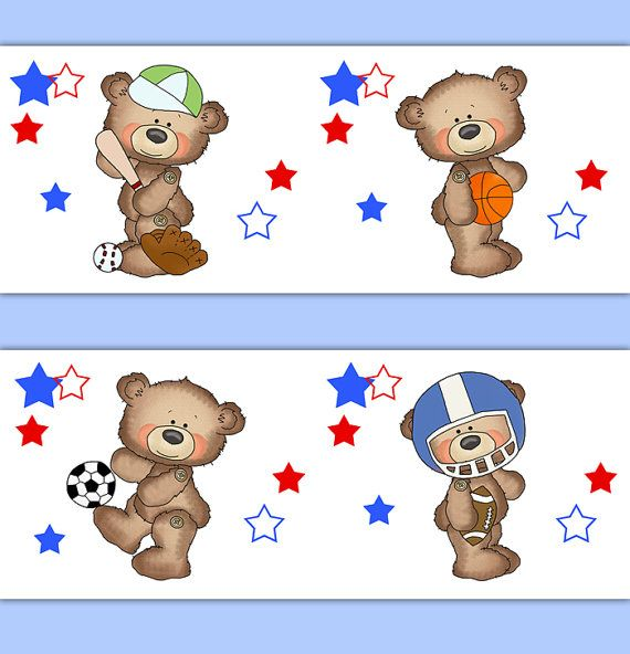 TEDDY BEAR SPORTS Boy Nursery Wallpaper Border Wall Art