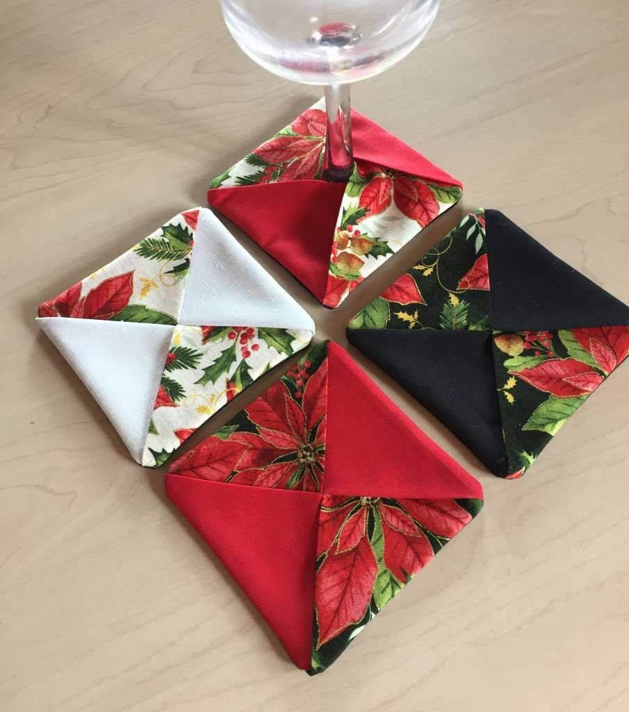 Wine Glass Coasters, Holiday Poinsettia Fabric, Set of 4, Wine Glass Cozy