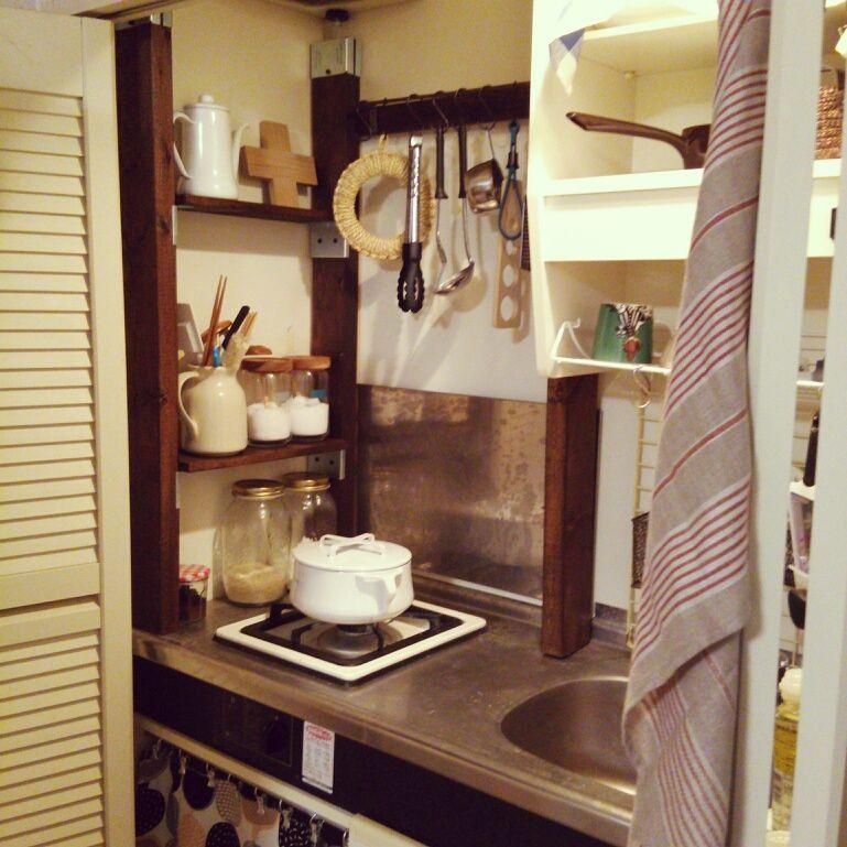 ワンルーム 一人暮らし Dansk 狭いキッチン 収納 Diy などのインテリア実例 2014 04 28 20 47 07 Interiors Room And Tiny Spaces