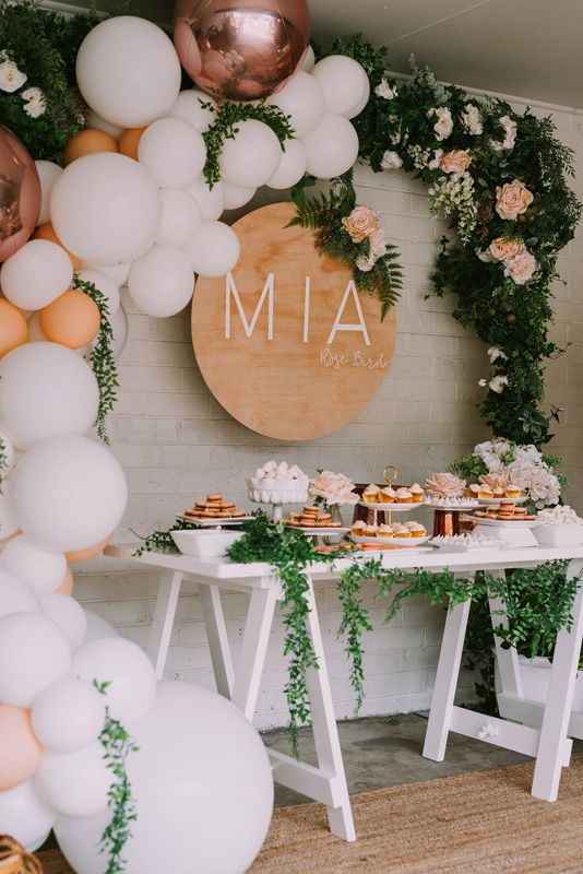Mia's Rose Gold Garden Party | HOORAY! Mag | Balloon Garland | Floroal Installation | Floral Garland | Foil Balloon | Pastel Balloons | Smash Cake | First Birthday Party | Dessert Table | Wood Board Signage |