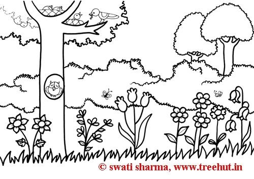 spring garden coloring pages - Garden Coloring Pages