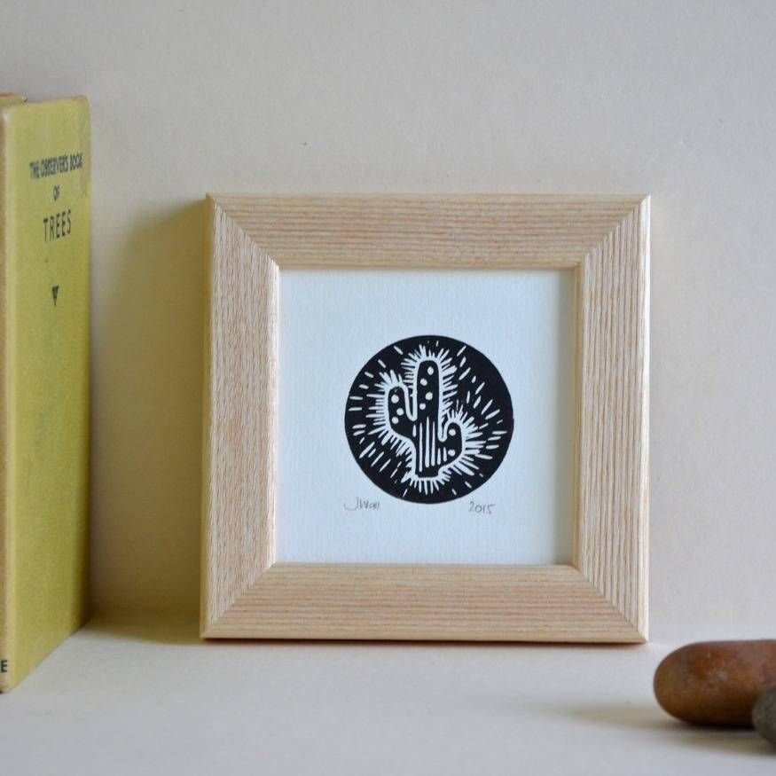 Beautiful handprinted linocut of a Cactus, available in blue or black ink, signed and dated, framed in a solid Ash wood frame.Available in blue or black ink. Please ensure correct colour is chosen at time of ordering.The graphic simplicity of linocuts has enduring, traditional beauty. The Cactus reflects my love of simple motifs, and all things Americana and cowboy. Inspiration is taken from both my surroundings, and of course my vintage ephemera collection: here, I pay homage to Roy Rogers…