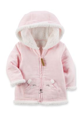 b3d40fbc9381 Carter s® Girls Newborn Sherpa Hooded Jacket