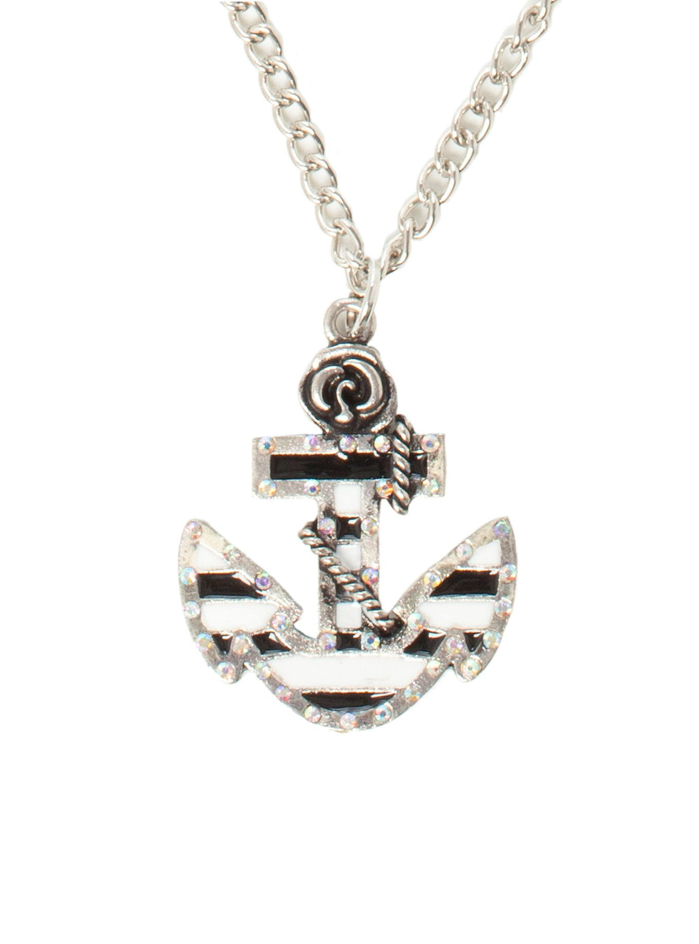 LOVEsick Black And White Stripe Anchor Necklace on Wanelo
