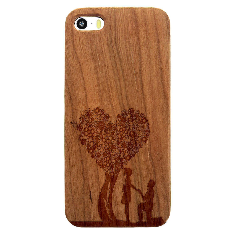 Heart Flower Tree Proposal- Laser Engraved Wood Phone Case (Maple,Cherry,Black,Cork)