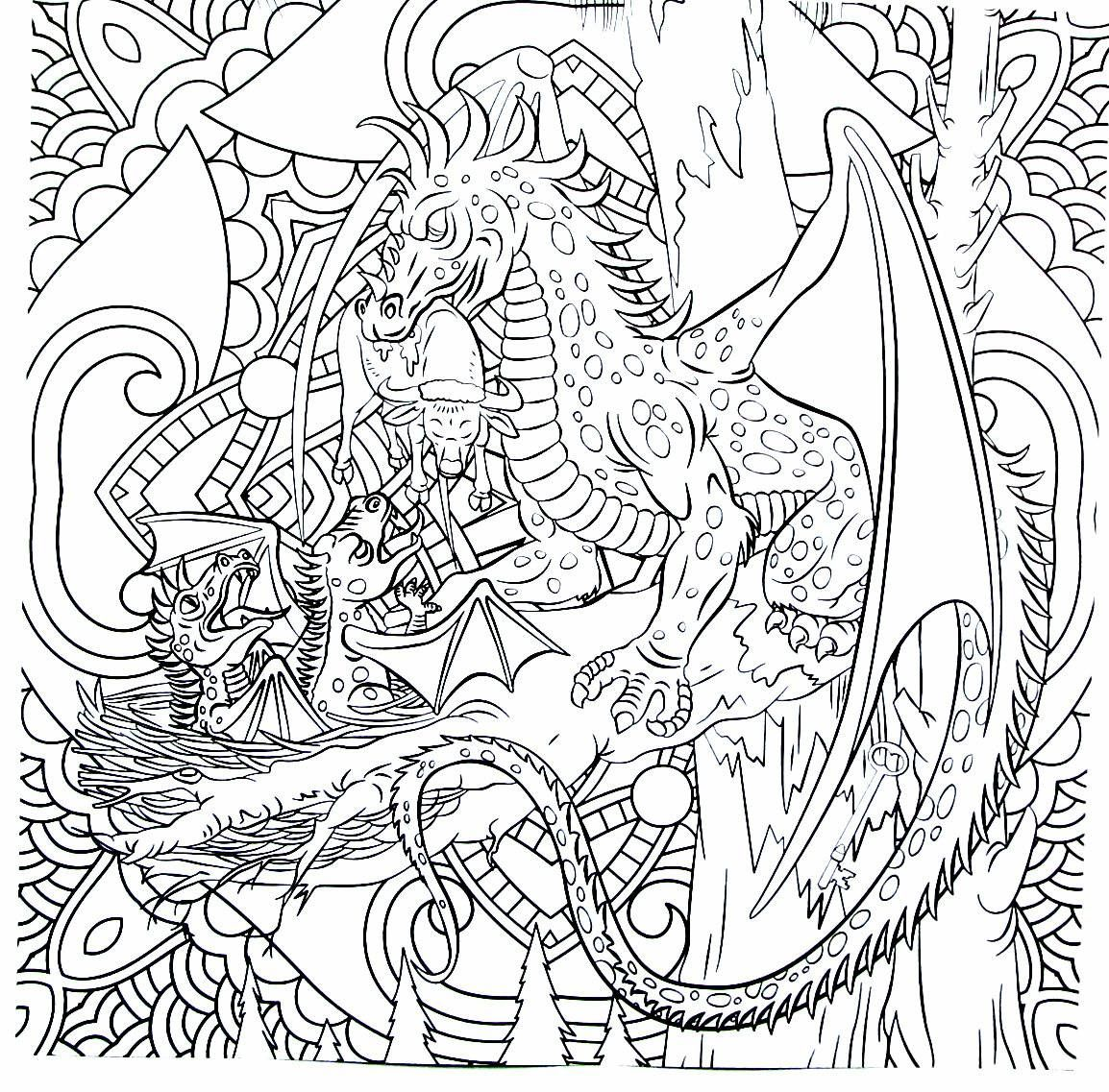 Dragon killing ox detailed coloring book page for adults | Fantasy ...