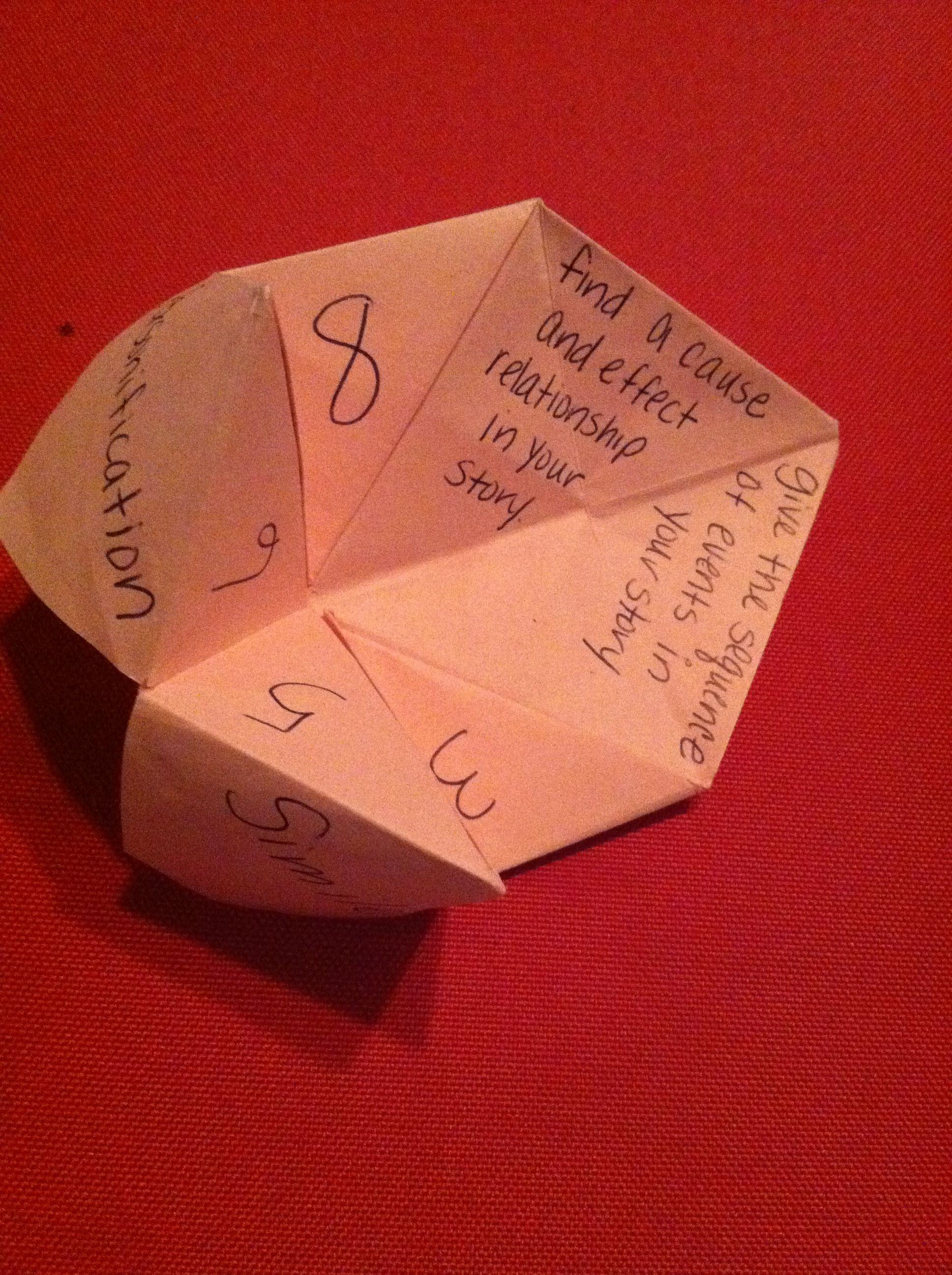 Fortune Teller Reading Response Game