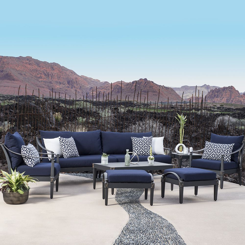 Astoria 8 Piece Sofa And Club Chair Set In Navy Blue
