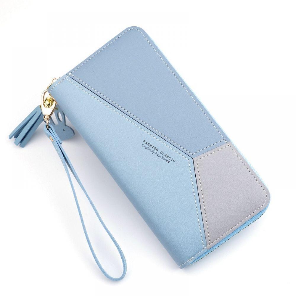 Geometric Women Wallets with Zipper Pink Phone Pocket Purse Card Holder Patchwork Women Long Wallet Lady Tassel Short Coin Purse - VQ Mart