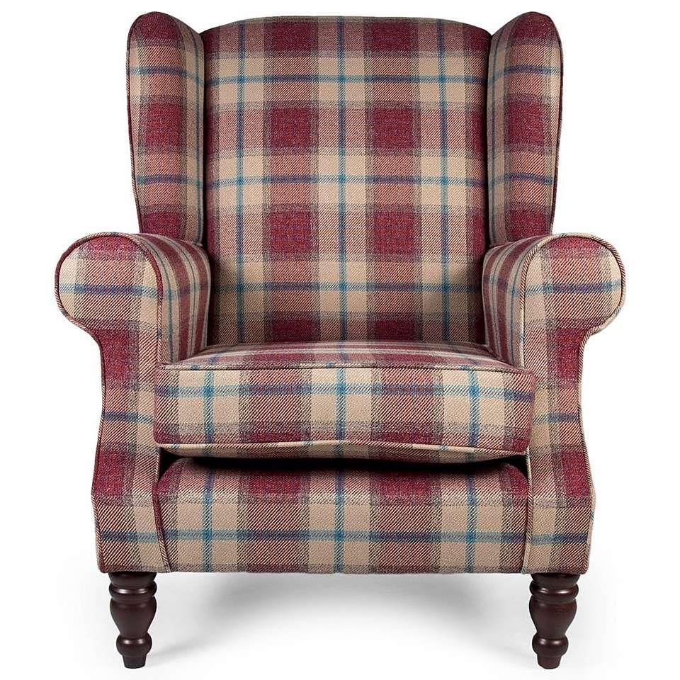 Chartwell Marlow Check Berry Armchair Dunelm кресло